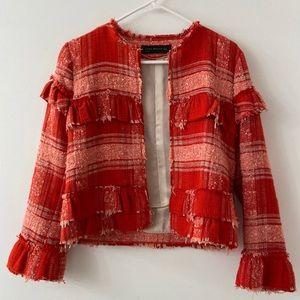 Zara Woman Red Tweed Jacket - S